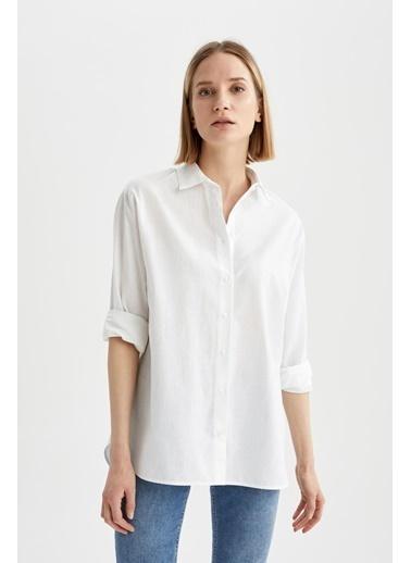 DeFacto Basic Apolet Kol Oversize Fit Poplin Gömlek Beyaz